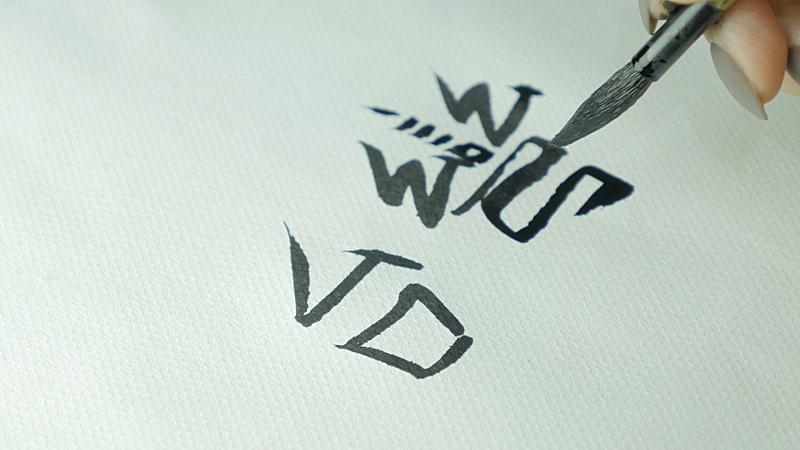 象形文字,书法,毛笔,贞德,汉字,手牵手,女性,特写,叉腰