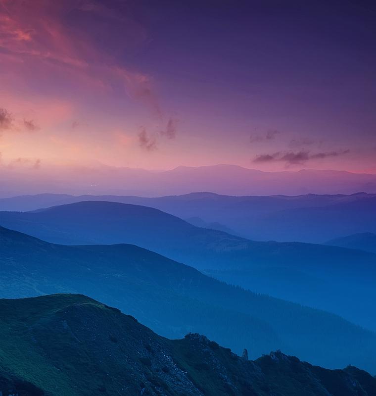 山,成一排,黄昏,雾,云景,地形,天空,云,风景,垂直画幅