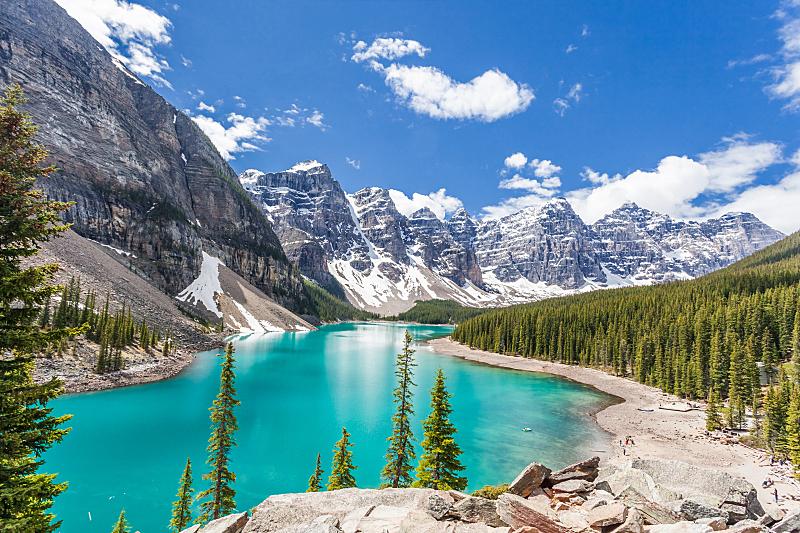 加拿大,梦莲湖,加拿大落基山脉,班夫,冰碛,峡谷,杰士伯,碧玉,阿尔伯塔省,水