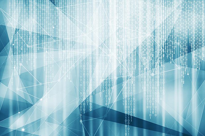二进制码,蓝色,背景,留白,未来,水平画幅,形状,无人,科学,计算机软件