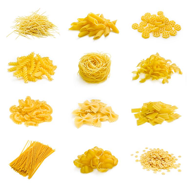 意大利面,巨大的,白色,烤宽面条,蝴蝶结通心粉,瓶塞钻,水平画幅,无人,生食,烘焙糕点