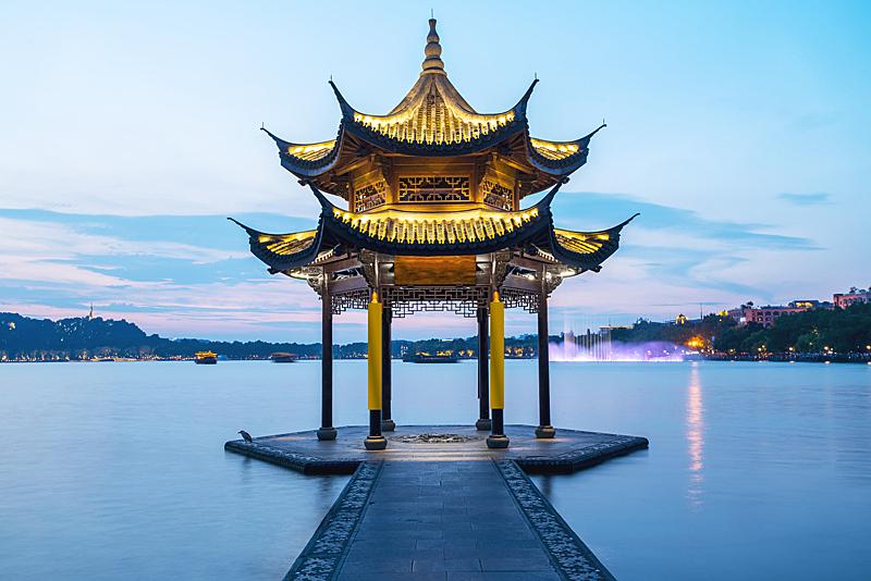 杭州,地形,西湖,建筑,水平画幅,云,无人,交通,夏天,户外
