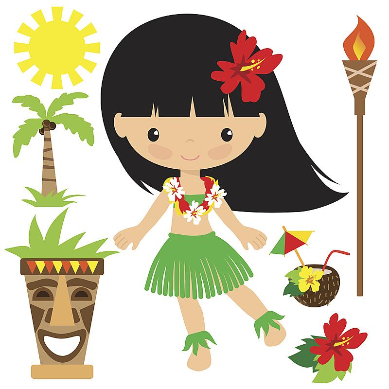 夏威夷大岛,矢量,绘画插图,草裙,呼啦舞者,可爱的,太平洋岛屿,背景分离,图像,儿童