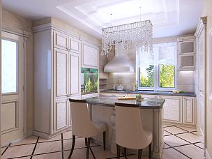 厨房,art deco风格,自然美,窗户,水平画幅,无人,微波炉,冰箱,瓷砖,家具
