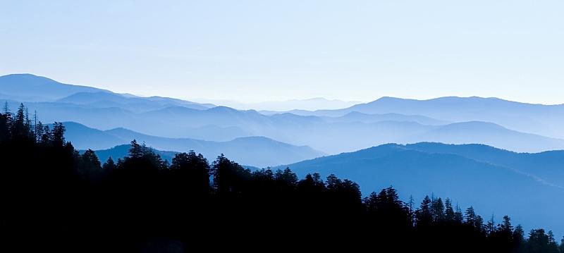全景,clingman's dome,蓝岭公路,蓝色山脊山脉,阿巴拉契亚山间栈道,田纳西,天空,北卡罗来纳,美