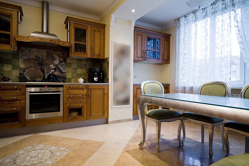 厨房,褐色,新的,水平画幅,无人,椅子,抽油烟机,玻璃,架子,现代