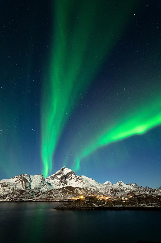 北极光, 罗弗敦群岛 ,挪威,垂直画幅,天空,美,星星,夜晚,雪,无人