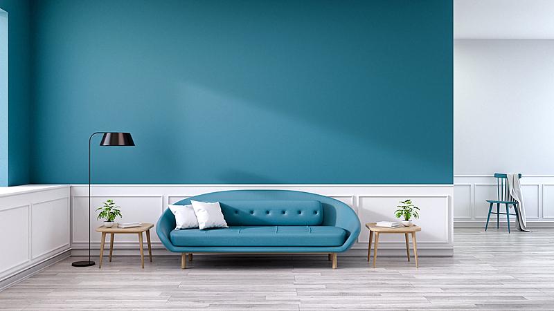 起居室,极简构图,沙发,蓝色,室内,木制,深的,灯,硬木地板,桌子