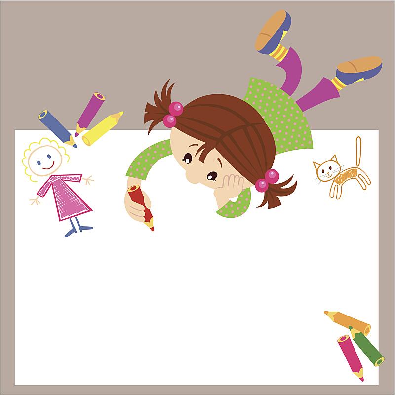 女孩,学龄前,半身像,绘画插图,卡通,白人,正字符号,童年,儿童画,儿童