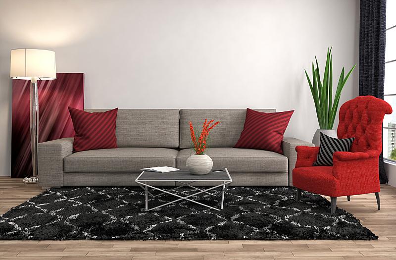 沙发,室内,绘画插图,三维图形,住宅房间,褐色,水平画幅,无人,蓝色,装饰物
