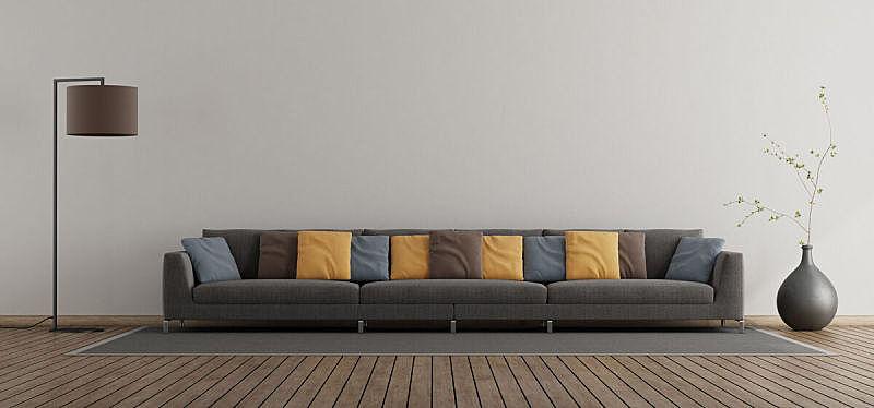 沙发,起居室,极简构图,巨大的,照明设备,灰色,软垫,地板,橙色,现代
