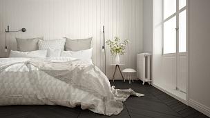 斯堪的纳维亚人,白色,卧室,窗户,极简构图,镶花地板,室内设计师,巨大的,特写,灰色