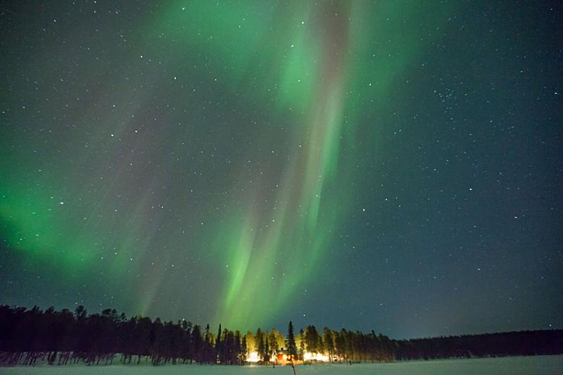 北极光,绿灯,拉普兰,瑞属拉普兰,阿拉斯加,天空,水平画幅,夜晚,雪,无人