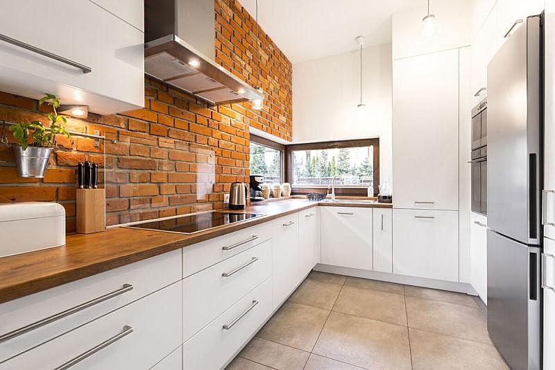 砖,厨房,极简构图,整齐的,新的,砖墙,假日别墅,现代,大理石,宽的