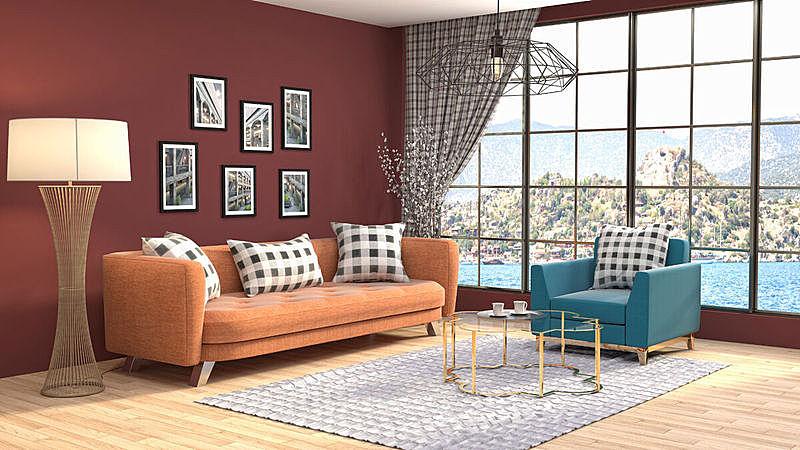室内,起居室,绘画插图,三维图形,水晶吊灯,普罗旺斯,扶手椅,花瓶,褐色,座位