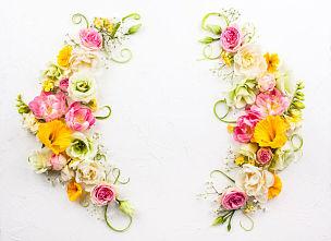 概念,花卉商,lisianthus,母亲节,玫瑰,美,留白,复活节,边框,水平画幅