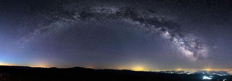 城市,银河系,在上面,天空,星系,洞,水平画幅,夜晚,无人,太空