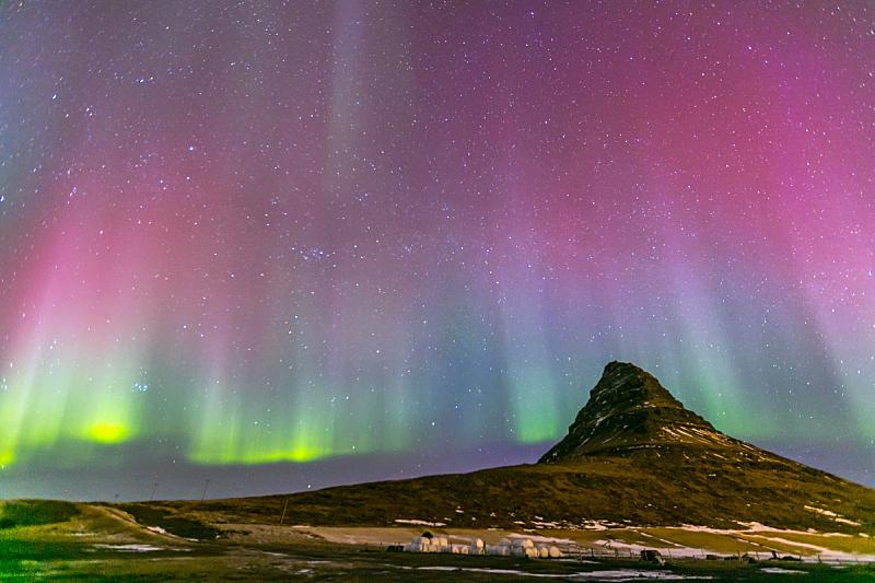 北极光,冰岛国,极光,水,公园,水平画幅,山,雪,无人,游泳池
