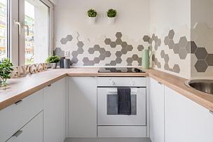 白色,厨房,舒适,新的,水平画幅,灯,家具,光,完美,明亮