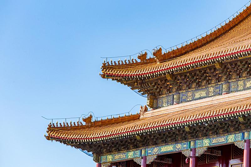 故宫,清朝,托架,天空,留白,水平画幅,古老的,户外,过去,国际著名景点