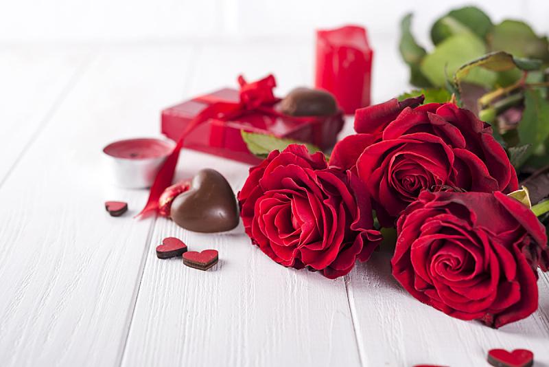 情人节,情人节卡,玫瑰,自然美,红色,黑巧克力,白昼,甜点心,花束,白色