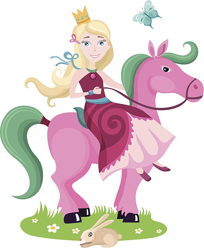 公主,马,粉色,在上面,儿童,女人,艺术,可爱的,快乐,蝴蝶