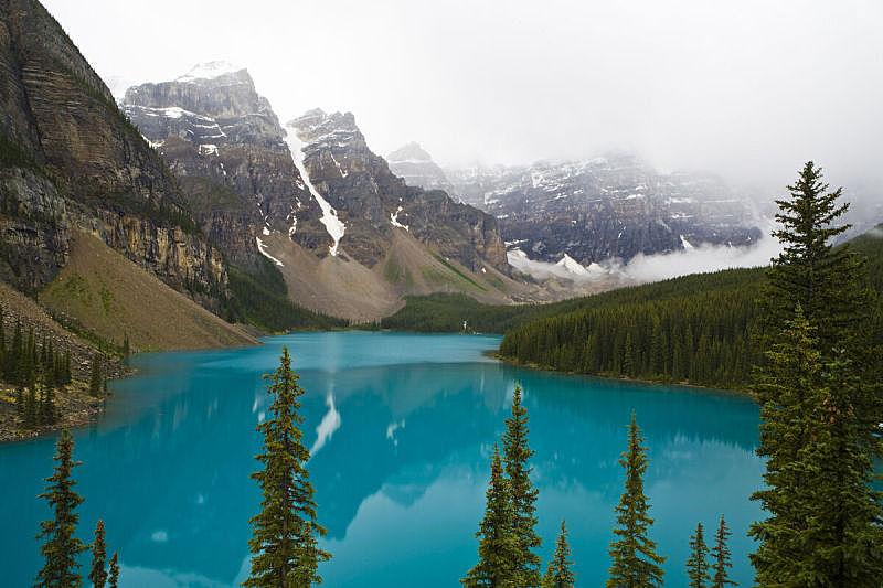 梦莲湖,水,水平画幅,阿尔伯塔省,无人,早晨,户外,湖,白色,彩色图片