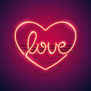霓虹灯,心型,电缆,艺术,电插头,形状,夜晚,情人节,绘画插图,符号