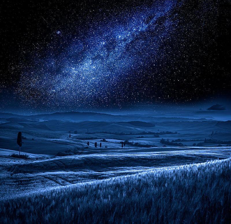 夜晚,银河系,托斯卡纳区,意大利,天空,美,星系,水平画幅,星星,无人