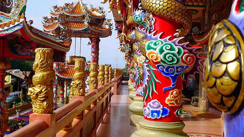 安全,建筑外部,亭台楼阁,神殿,水平画幅,无人,蓝色,时尚,涂料,龙