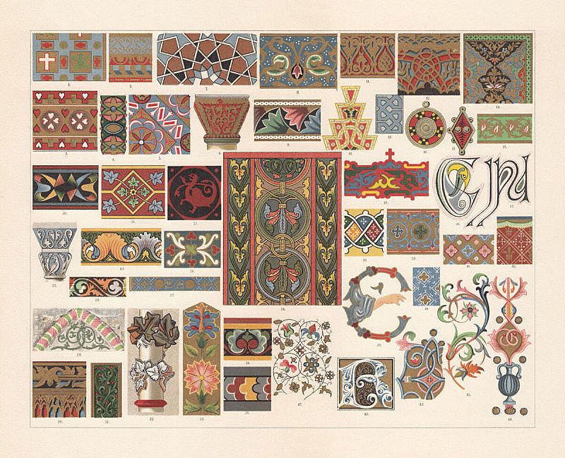 Various patterns of the Middle Ages, chromolithograph, published in 1897