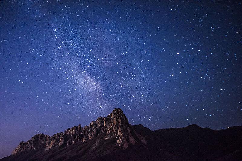银河系,天空,太空,星系,岩石山,水平画幅,注视镜头,星星,夜晚,蓝色
