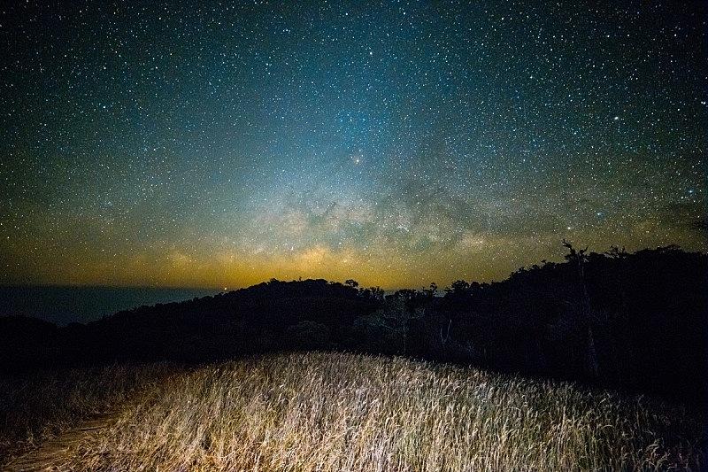 田地,宽的,长时间曝光,街道,天体物理学,星迹,空间探索,流星,银河系,天空