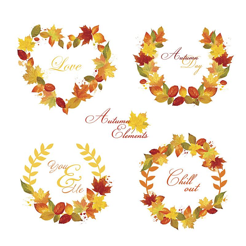 花环,秋天,标签,月桂花冠,叶子,十月,贺卡,水彩画颜料,边框