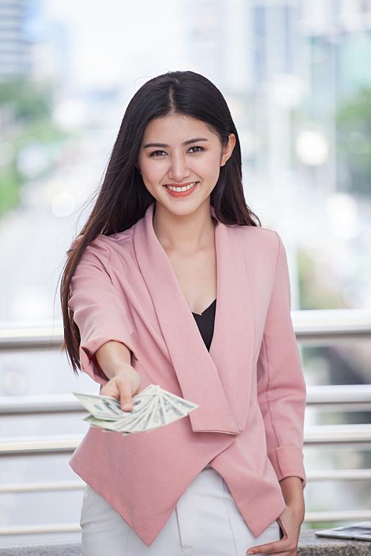 女商人,青年人,亚洲,信函,肖像,泰国,拿着,欢乐,仅一个女人
