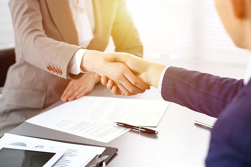 商务人士,会议,概念,握手,同意,签字,结束,问