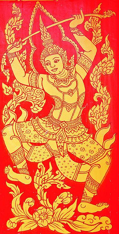 绘画作品,艺术,垂直画幅,灵性,教堂,符号,鸟类,泰国,佛教,狮子