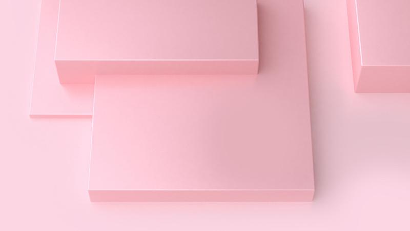 三维图形,正方形,抽象,粉色,极简构图,全部,粉色背景,平坦的,室内地面,多层效果