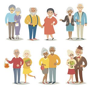 老年人,家庭,动画片,幸福,退休金,女人,父母,绘画插图,人,丈夫