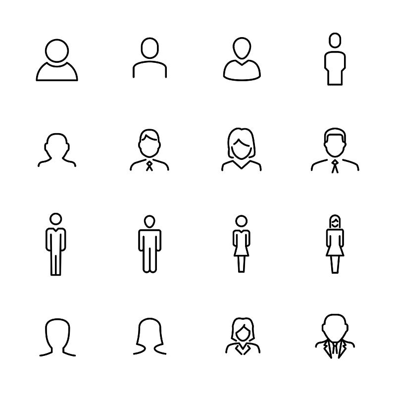 Premium set of user line icons.