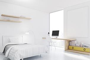 卧室,白色,角落,城墙,书房,书架,复式楼,新的,水平画幅,墙
