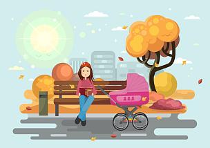婴儿车,母亲,书,公园,长椅,休闲活动,水平画幅,父母,绘画插图,折叠童车