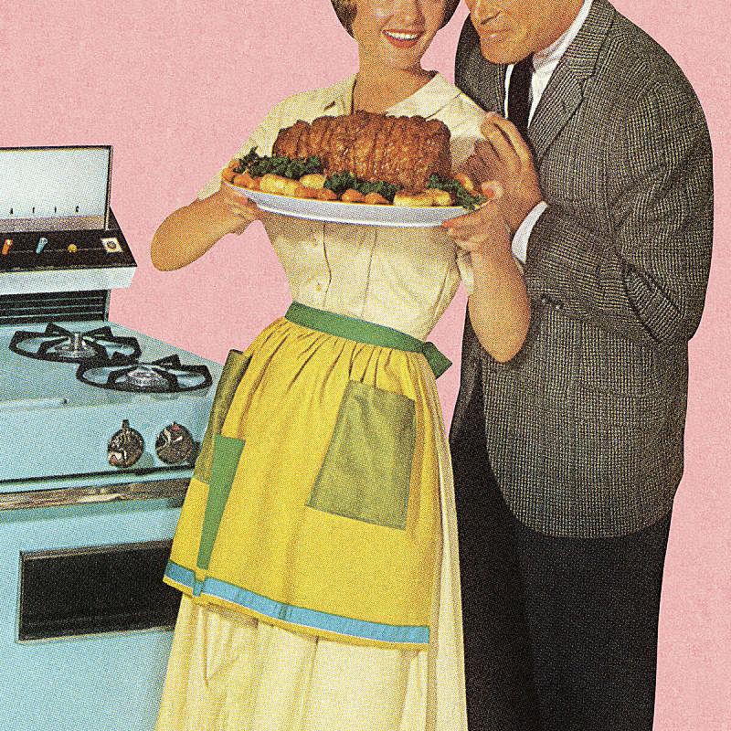 异性恋,烤的,罐焖牛肉,波普风,庸俗,古典式,复古风格,晚餐,绘画插图,烤牛肉