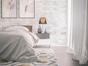 卧室,极简构图,大特写,窗帘,床单,华贵,抽屉,水平画幅,灯,钟