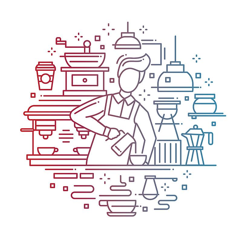 线条,咖啡师,色彩渐变,咖啡,男性,磨咖啡机,模板,想法,商业厨房,厨房