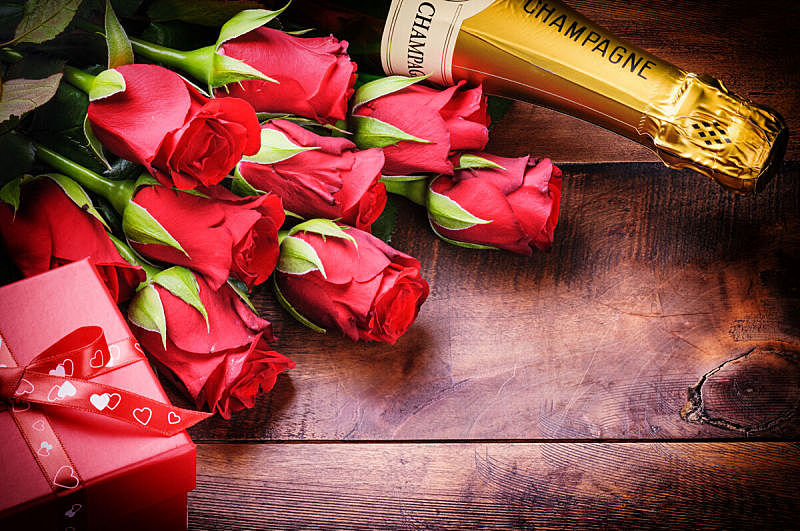 香槟,情人节,玫瑰,礼物,红色,情人节卡,生日,贺卡,留白,褐色
