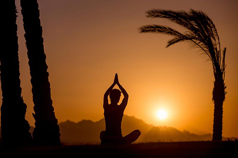 瑜伽,简单,青少年,sukasana,早晨,健康,夏天,运动,彩色图片,热带气候