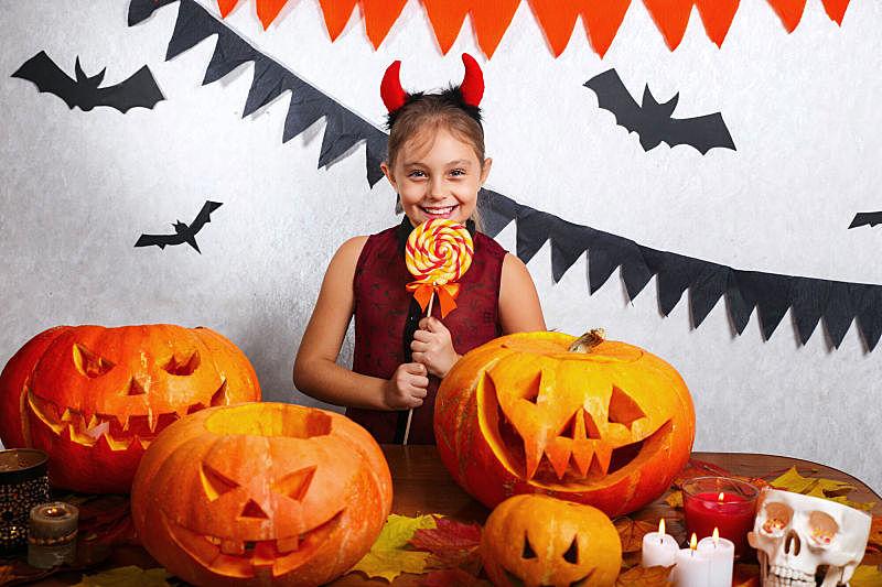 糖果,乐趣,女孩,幸福,南瓜,可爱的,传统,十月,事件