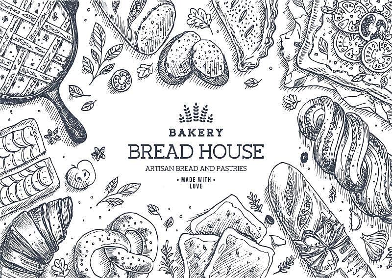 面包店,面包,背景,房屋,直的,插画,酥皮糕点,烤面包