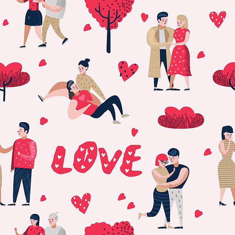 绘画插图,情人节,卡通,矢量,浪漫,概念,伴侣,背景,四方连续纹样,人